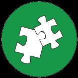 Zwei Puzzle-Teile als Symbol für Fortbildungen