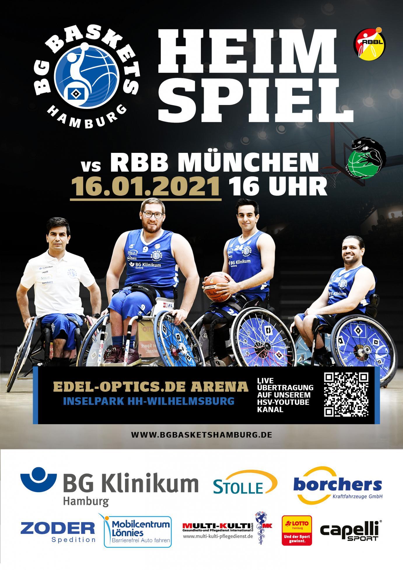 Plakat der BG-Baskets zum ersten Heimspiel am 16.01.2021